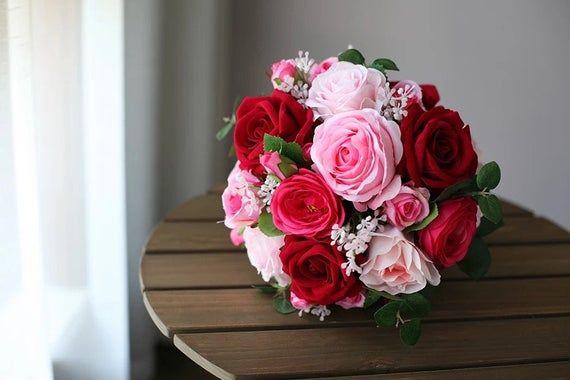 Burgundy & Pink Bridal Bouquet, Roses, peonies, Bride, Bridesmaids, Silk Flowers, Artificial Bouquet, Silk Bouquet, Fake #pinkbridalbouquets