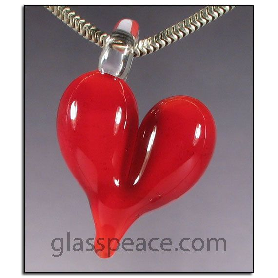 Red Glass Heart Pendant - Lampwork Jewelry by Glass Peace $12.95