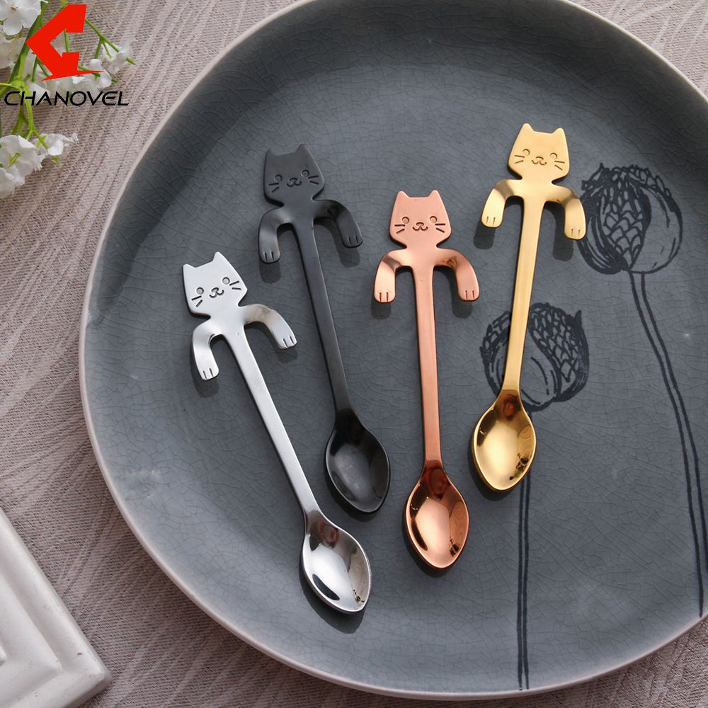 CHANOVEL 1 unids Gato de acero inoxidable cuchara de café cuchara de ...