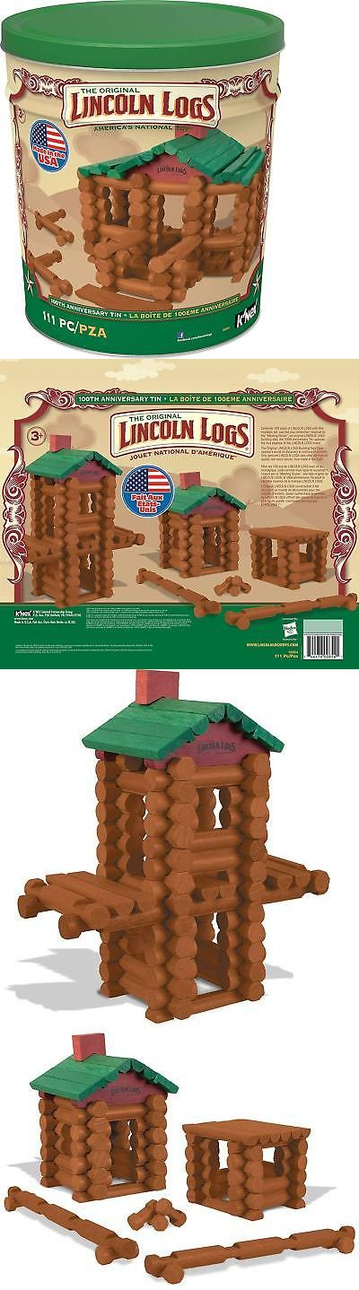 100th Anniversary Tin Ages 3+ LINCOLN LOGS 111 All-Wood Pieces