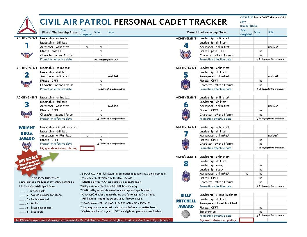 Personal Cadet Tracker Stripes to Diamonds Civil Air