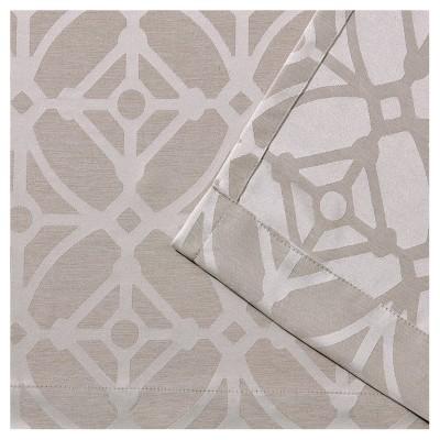 "Cressy Geometric Textured Linen Jacquard Grommet Top Window Curtain Panel Pair Linen (54""x96"") - Exclusive Home"