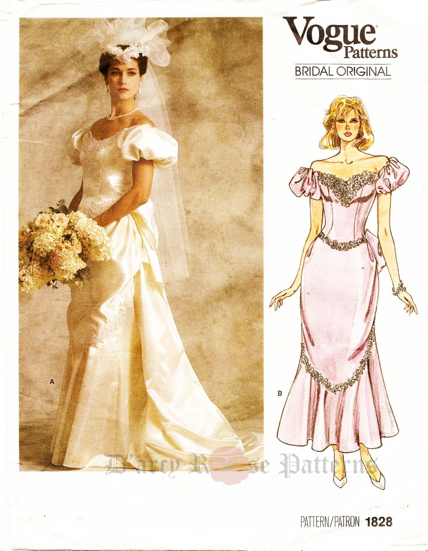 Vogue retro s off shoulder victorian style wedding gown