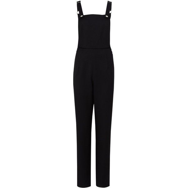 Sugarhill Boutique Noa Apron Dungarees, Black (480 ARS) ❤ liked on Polyvore featuring jumpsuits, long jumpsuits, sleeveless jumpsuit, sleeved jumpsuit, long sleeve jumpsuit and tailored jumpsuit
