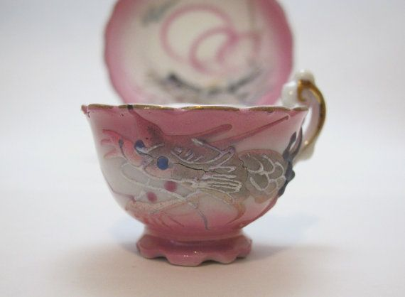 Vintage 1950s Pink Moriage Dragonware Teacup and Saucer or Plate
