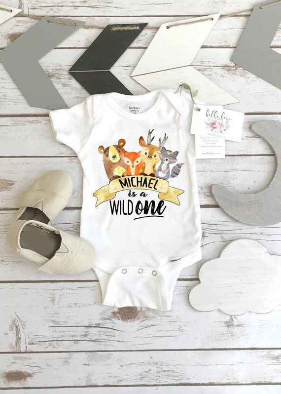 First Birthday OnesieR Woodland Wild ONE Animal Party 1st B