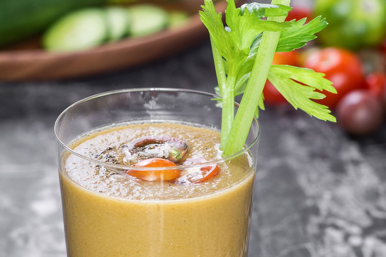 For a fun twist on a brunch cocktail favorite, try this Bloody Mary Smoothie.