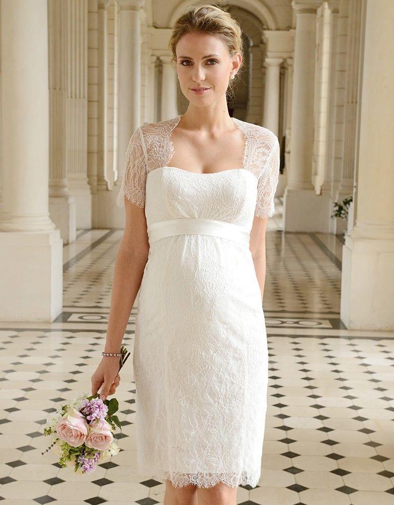 61b83558e2b Cut Out Lace Maternity Wedding Dress in 2019