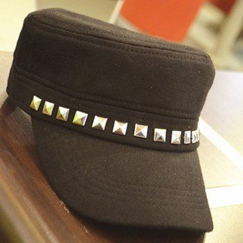 0faaaede5 Stylish Rivet Embellished Military Hat For Women, BLACK in Hats ...