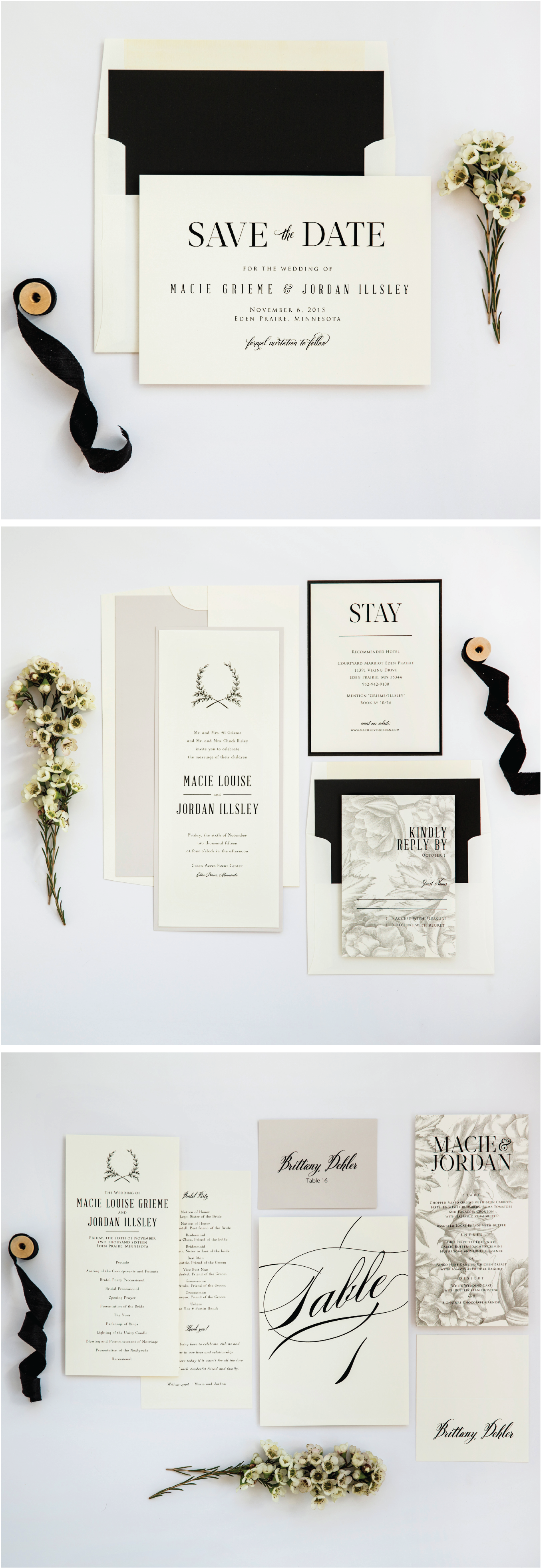 Ivory, Stone and Black Neutral Rustic Wedding Invitation Suite from ...