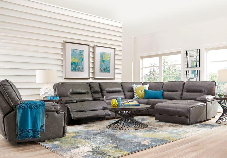 Caranova Dark Gray 6 Pc Dual Power Reclining Sectional With Chaise In 2020 Reclining Sectional With Chaise Reclining Sectional Leather Couches Living Room