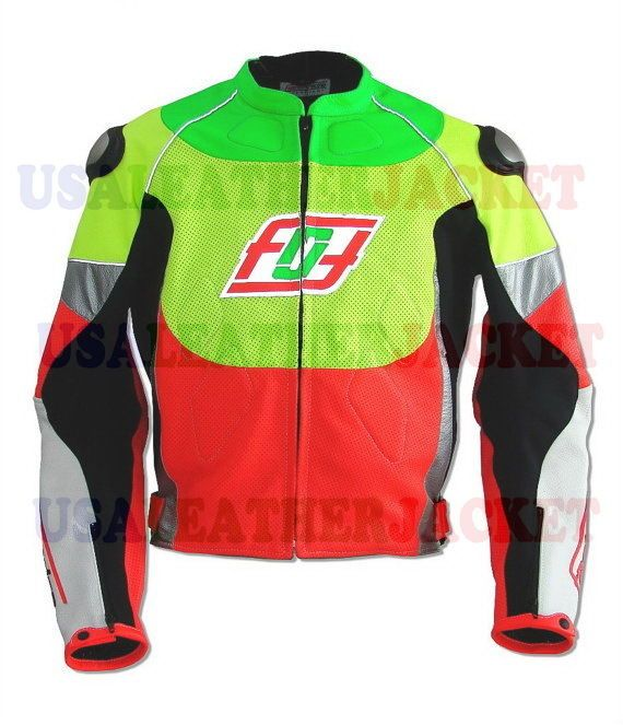 Men Green Red RGSX Suzuki Racing Perforated Leather Motorcycle Leather Jacket #Handmade #BasicJacket