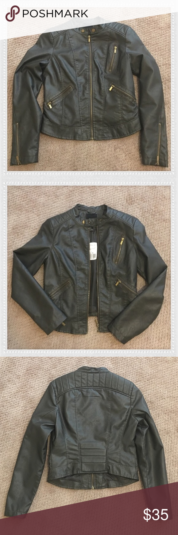 NEW Moto Jacket Brand new olive faux zip-up leather Moto jacket from Forever 21.                                                             Three gold zipper pockets on front of jacket and zipper sleeves.                                                       Two button closure at the collar.                            Great detail on the back of jacket. High/low and fitted style.                                                                 Classic and expensive looking piece! Forever 21…