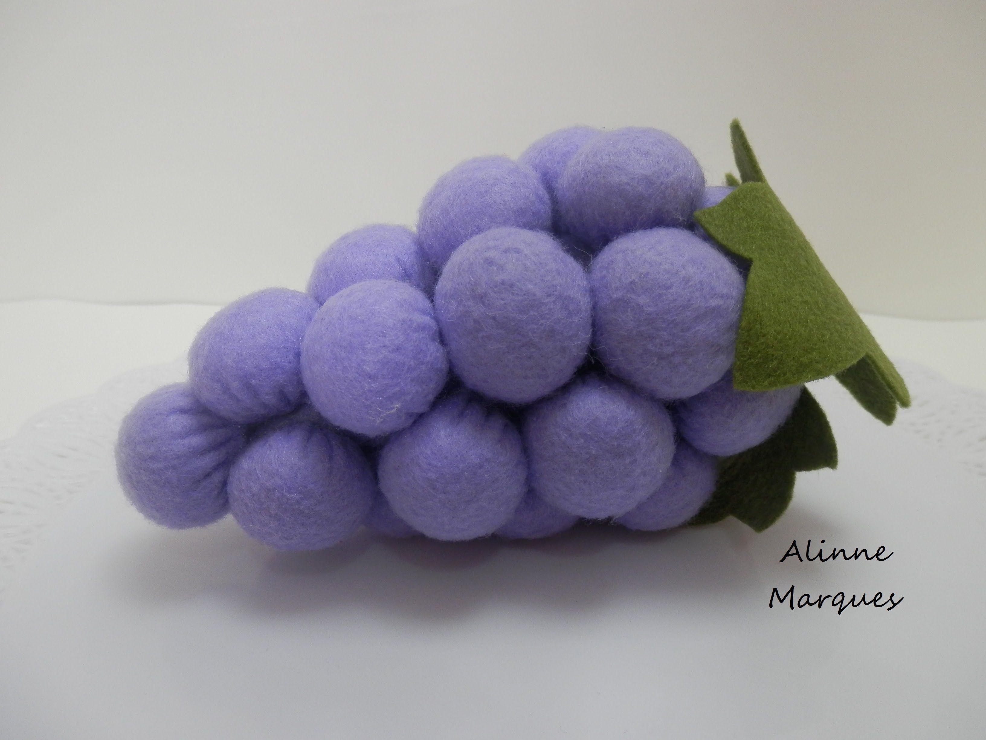 Armario Planejado Para Cozinha Pequena ~ Uva 3D em feltro Artesanato Passo a passo Frutas de tecido e croche Pinterest 3d, Passo