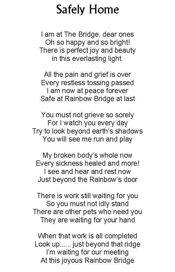 Rip My Sweet Pet Home Poem Poems Everlasting Light