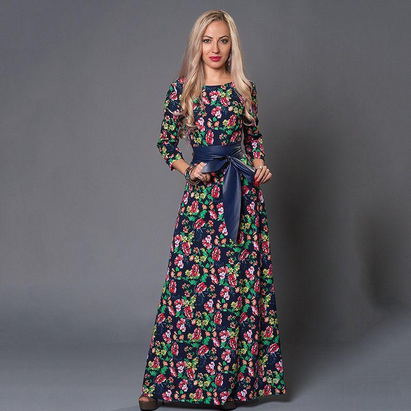 S.FLAVOR Women Brand Dress Russian Elegant Print long dress Plus size Summer autumn dress vestido de festa dresses