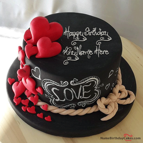 Write Name On Hearts Chocolate Birthday Cake For Lover