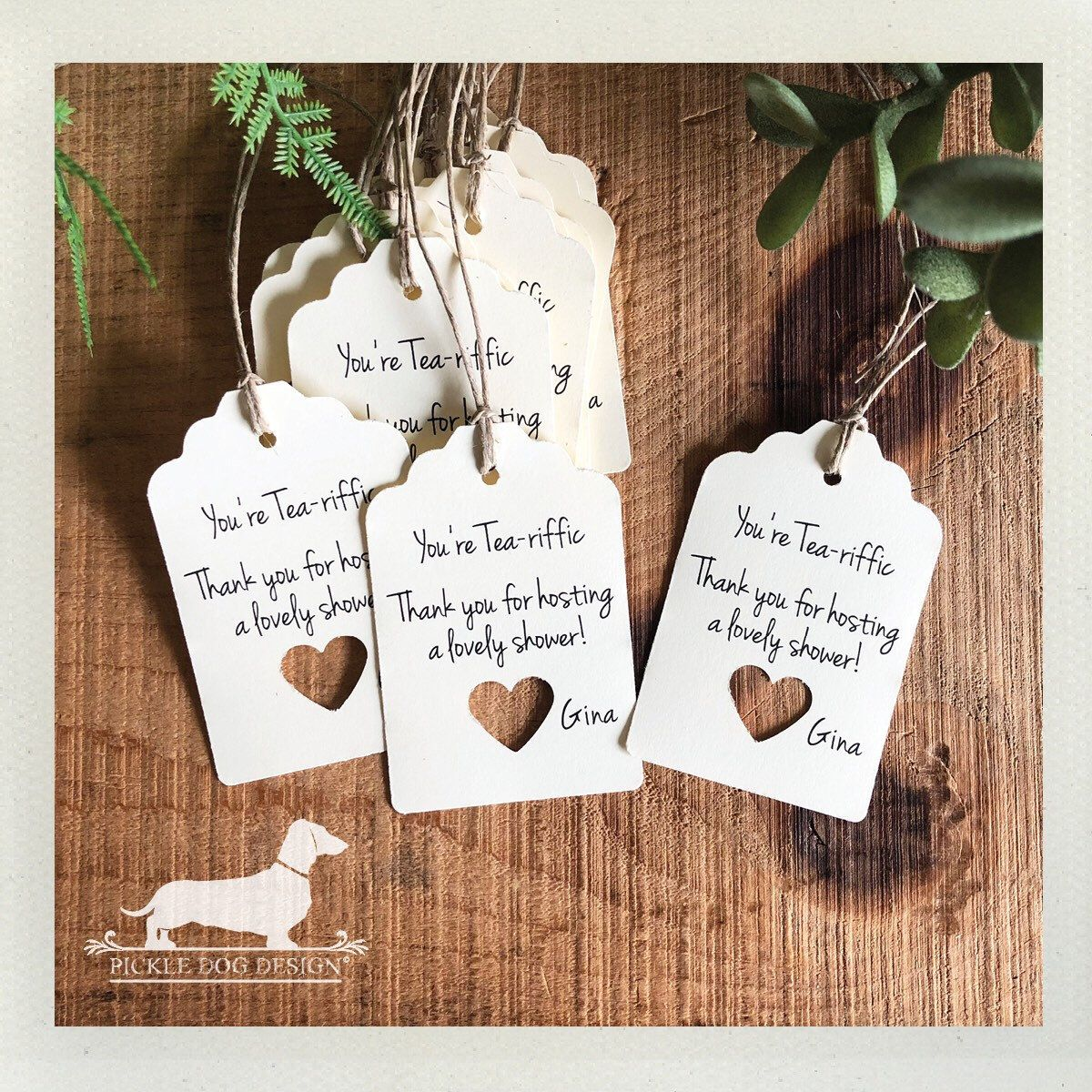 Ivory Open Heart. Personalized Gift Tags (Set of 12) -- (Simple ...