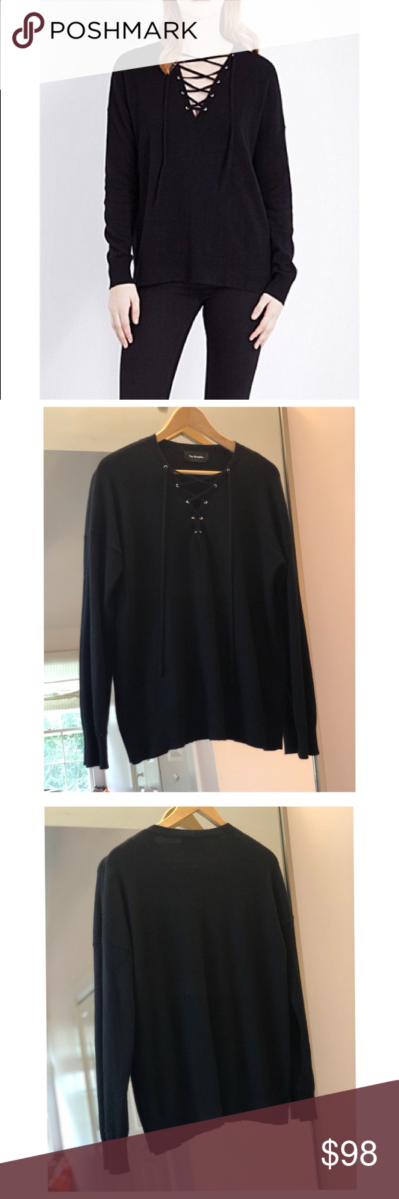 e860490824 THE KOOPLES Lace Up Wool Cashmere Sweater S Gently worn super essential  basic in black soft