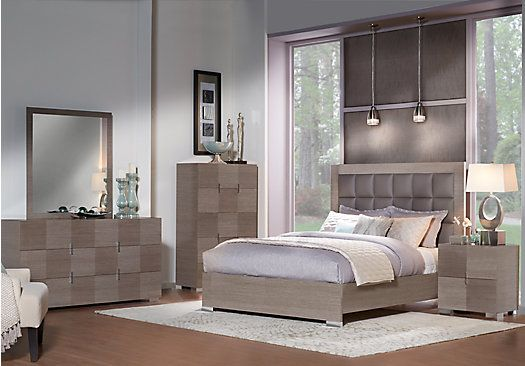 picture of Dominique Gray 5 Pc Queen Panel Bedroom from Queen ...