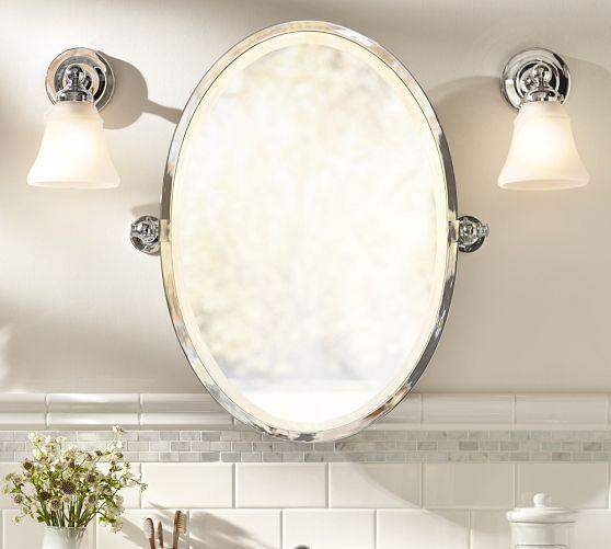 Kensington Pivot Mirror Large Oval Antique Bronze Finish
