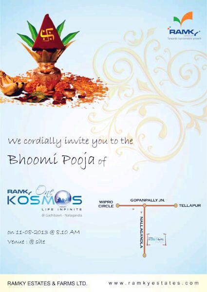 we cordially invite you to the bhoomi pooja of  u0026quot ramky one kosmos u0026quot