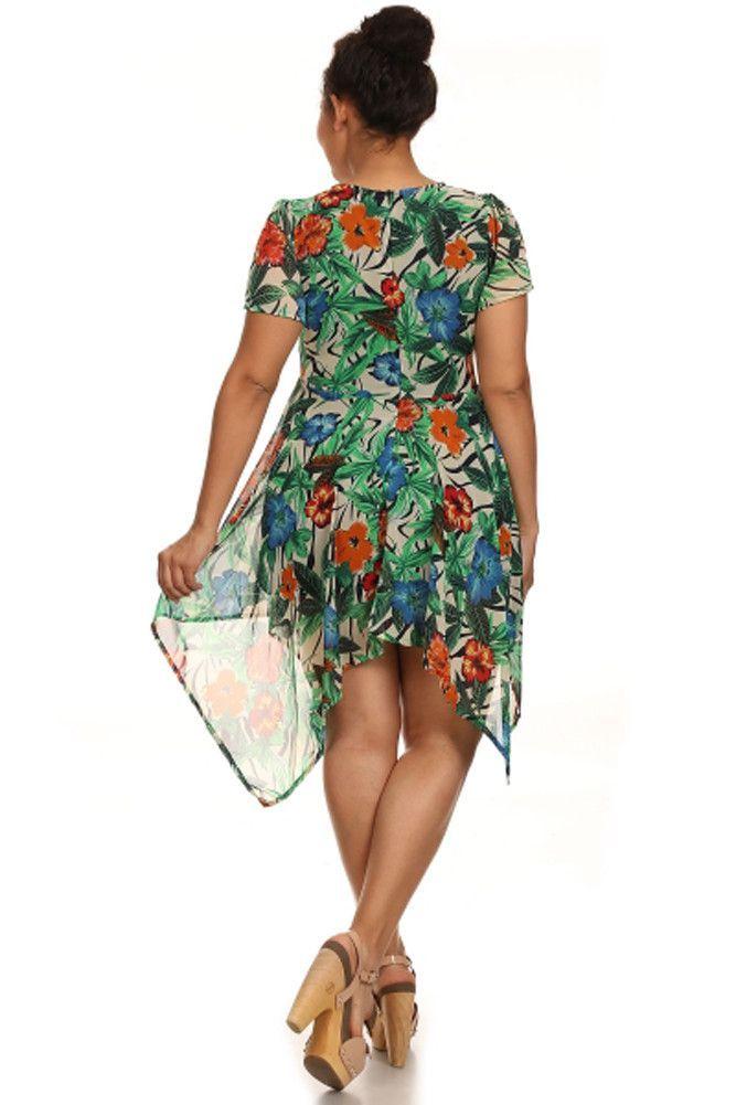 Tropical Floral Beige Short Sleeve Asymmetric Vacation Summer Plus Dress