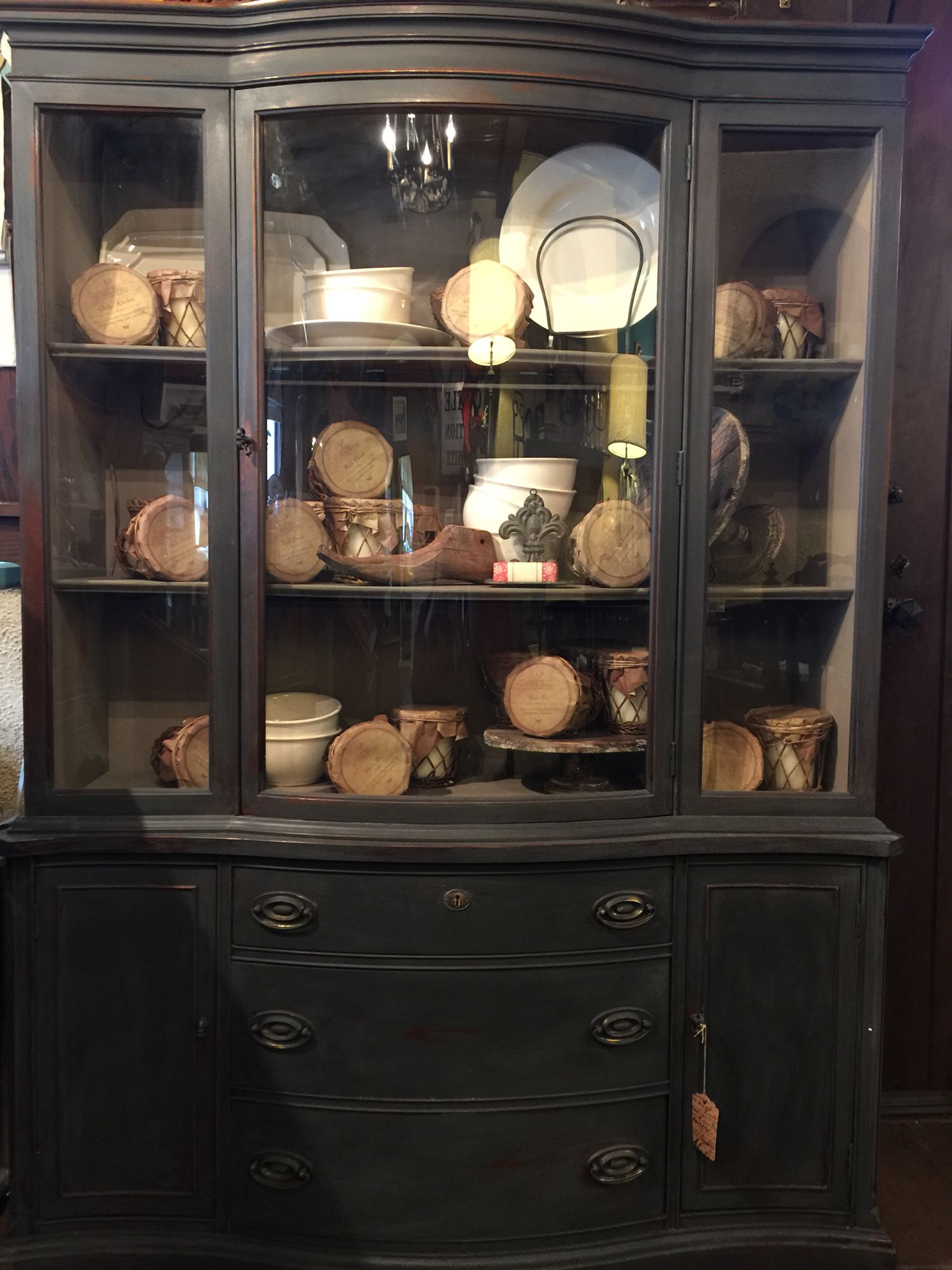 China cabinet painted with Annie Sloan Chalk Paint Graphite and