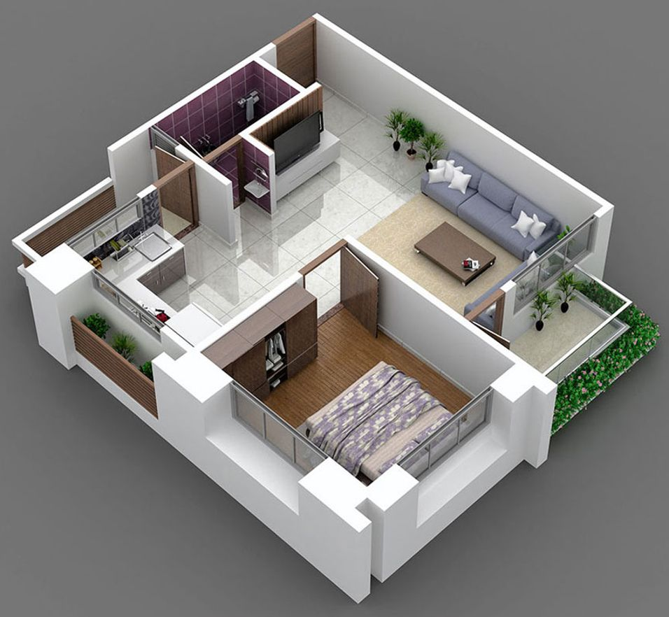 700 Sq Ft 1 Bhk 1t Apartment For Sale In Kabir Group White 3d House Plans Indian House Plans Bedroom House Plans