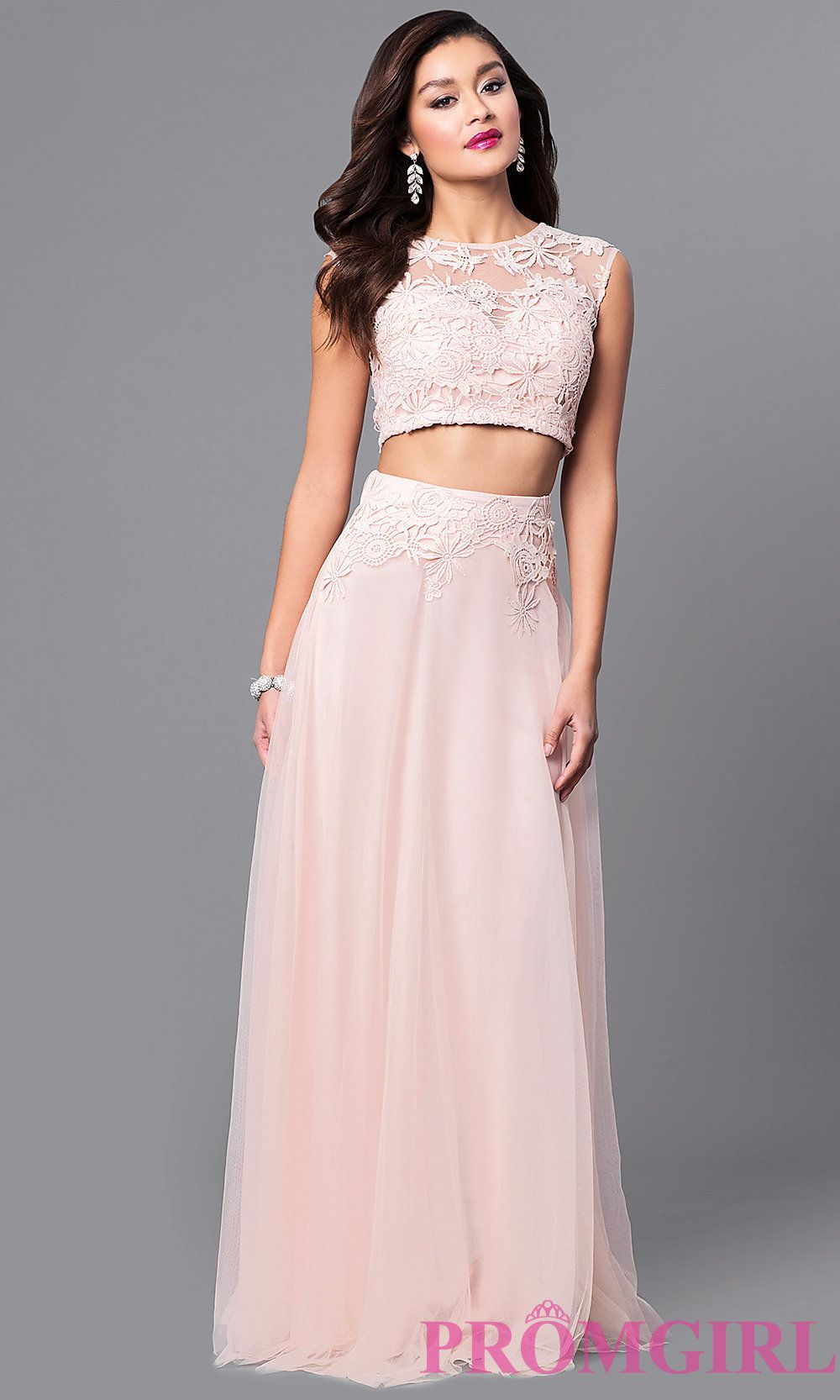 Lace-top and tulle skirt long two-piece prom dress. Style: LP-90008 ...