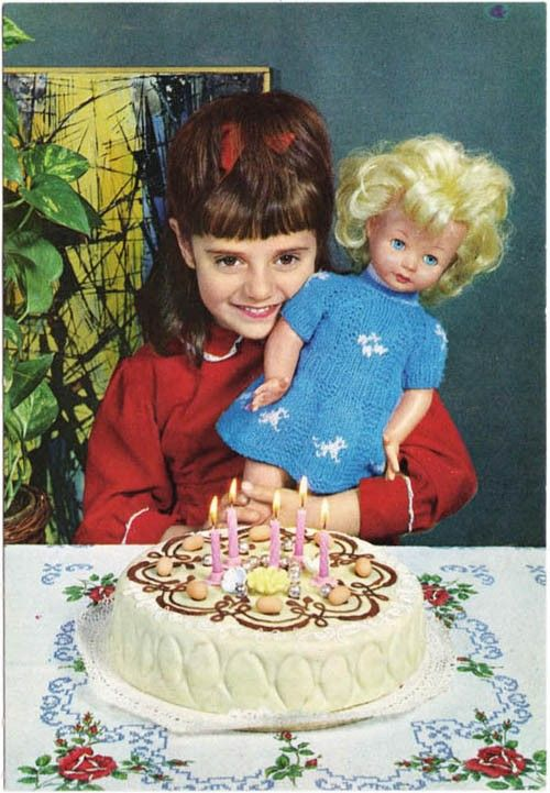 Vintage Postcard 1960s Birthday Girl Age 5 With Doll And Abstract