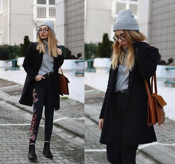 Melike Gül - Romwe Coat, Romwe Glasses, Mango Turtleneck, Romwe Jeans, Sheinside Bag, Romwe Boots - Same But Different