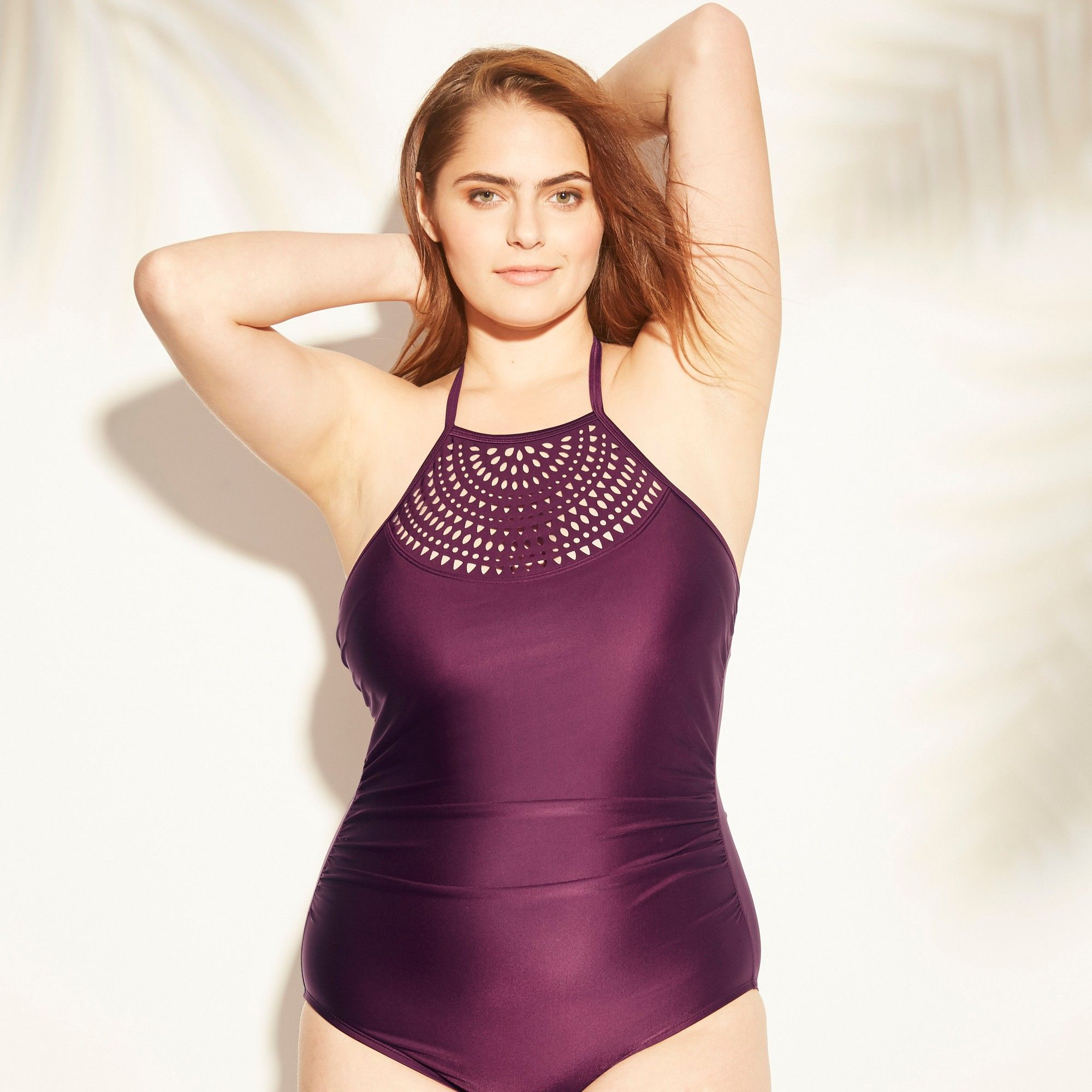 e6ef35583ab71 Women's Tall/Long Torso Laser Cut High Neck One Piece Swimsuit - Kona Sol  Atlantic Burgundy M, Red
