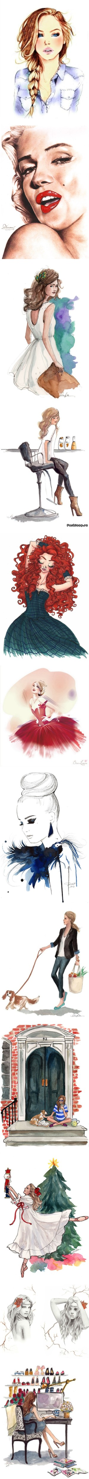""""""".drawings of ladies. Pt 2"""" by lora2388 on Polyvore"""