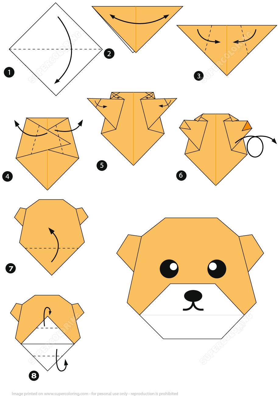 How to make an origami bear face instructions free printable
