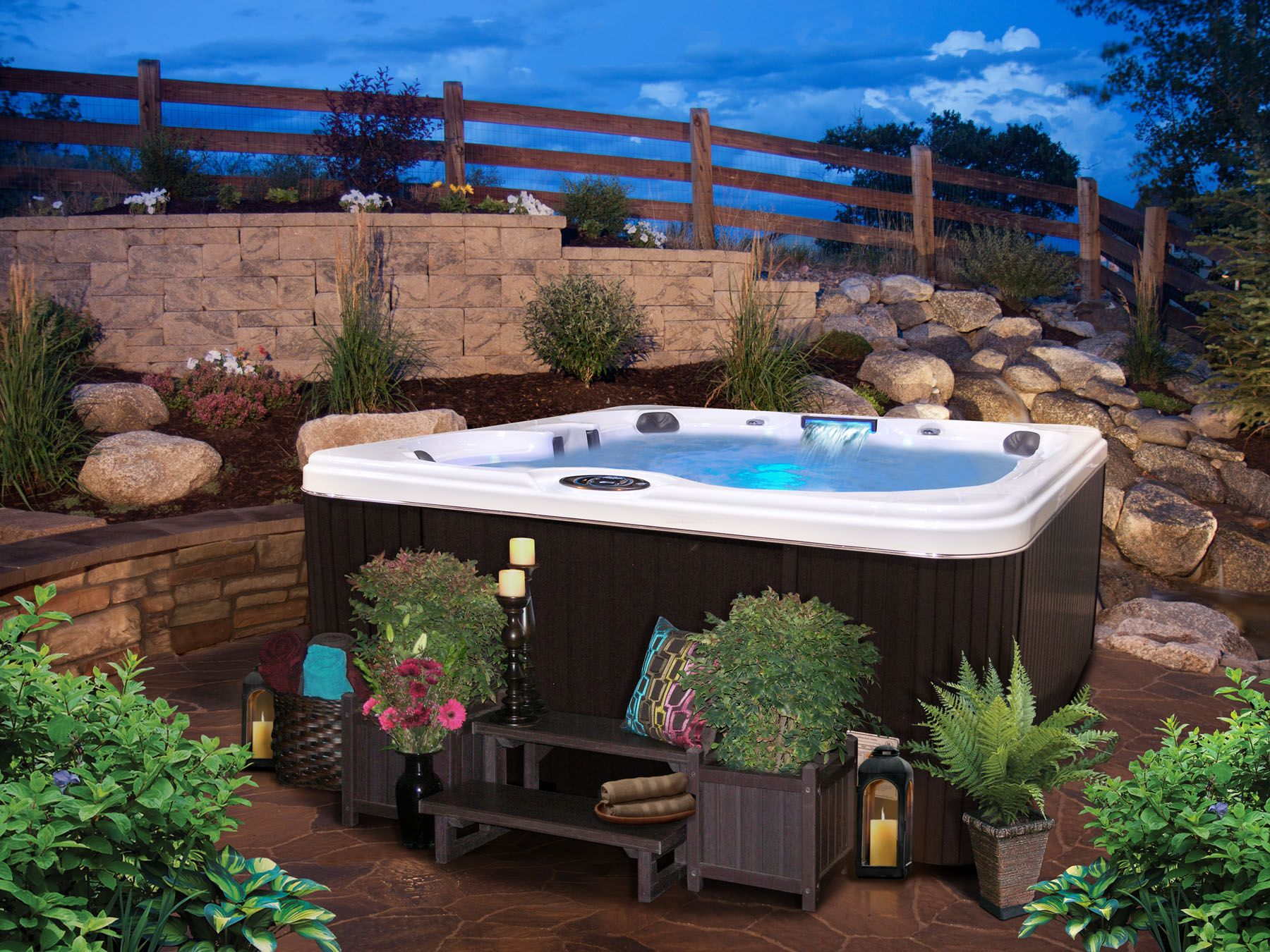 Hot tub landscaping for the beginner on a budget hot for Garden design ideas hot tubs