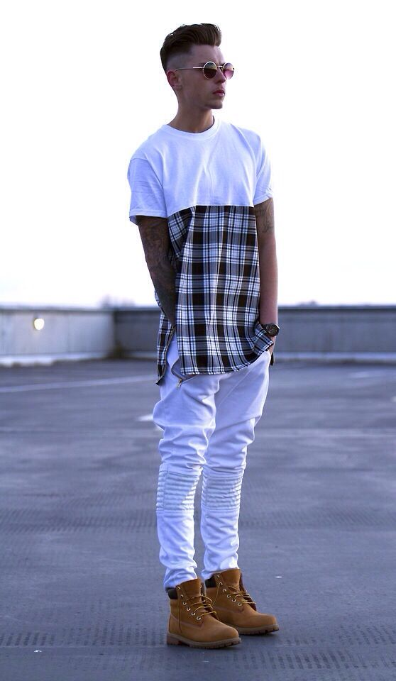 Tartan Skinny White Joggers Timberland Boots | THREADS FOR DAYS. | Pinterest | White joggers ...