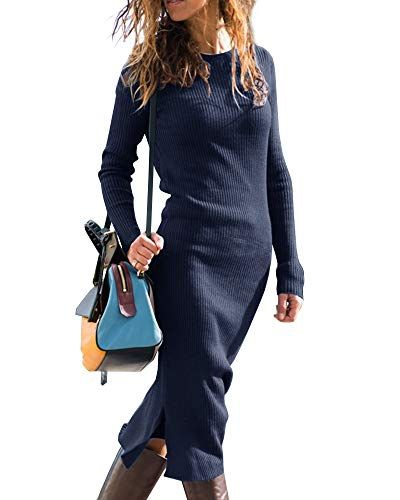 dd103d85b2dc Gobought Womens Bodycon Sweater Dress Long Sleeve Side Slit Knit Midi  Dresses Fall