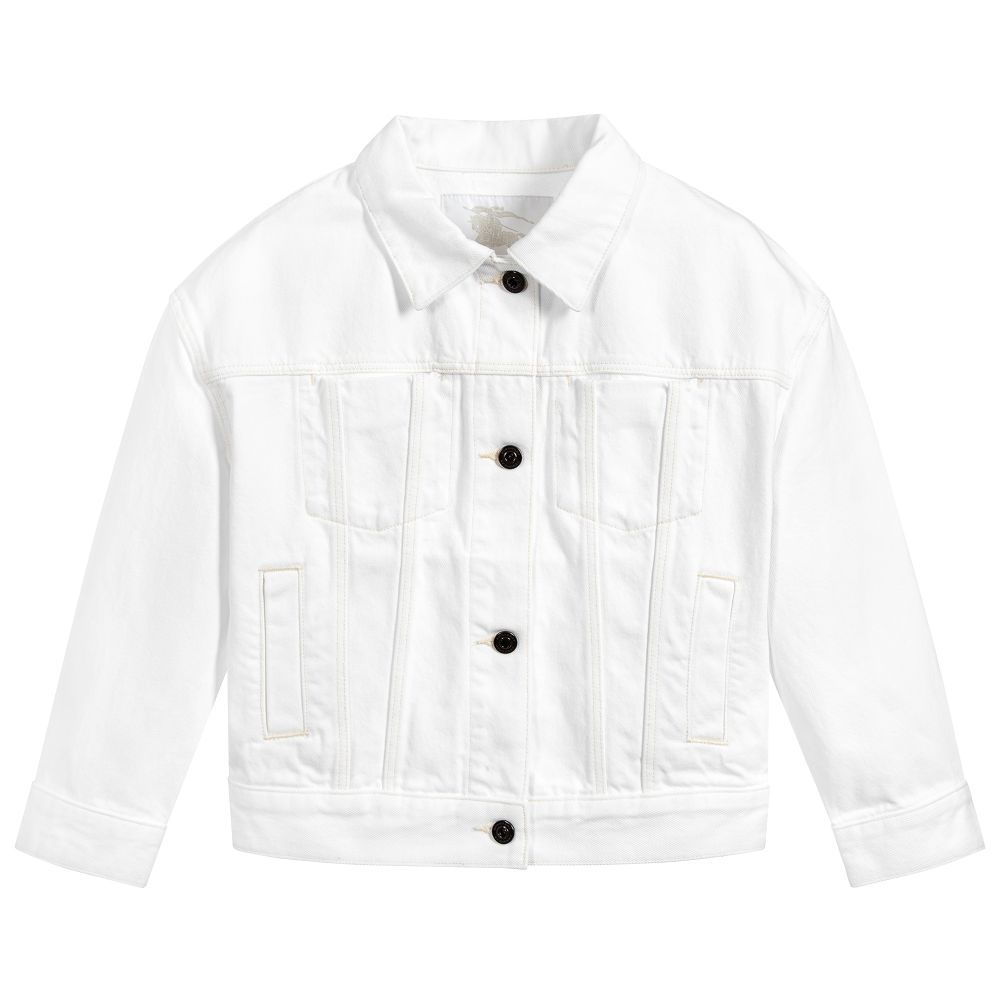 71a47a2f4 White denim jacket for girls and boys by British designer Burberry ...