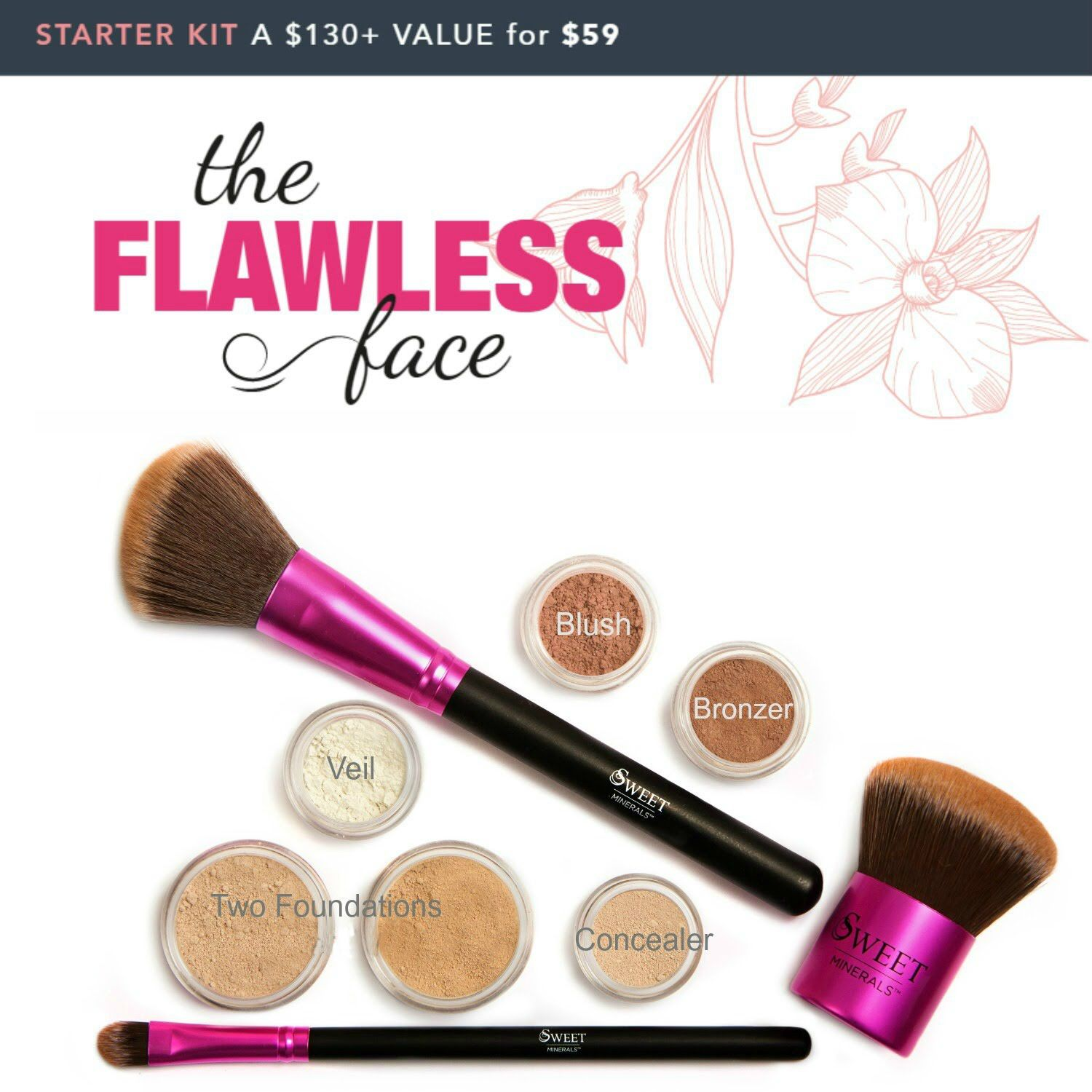 Mineral makeup starter kit! Flawless complexion! www