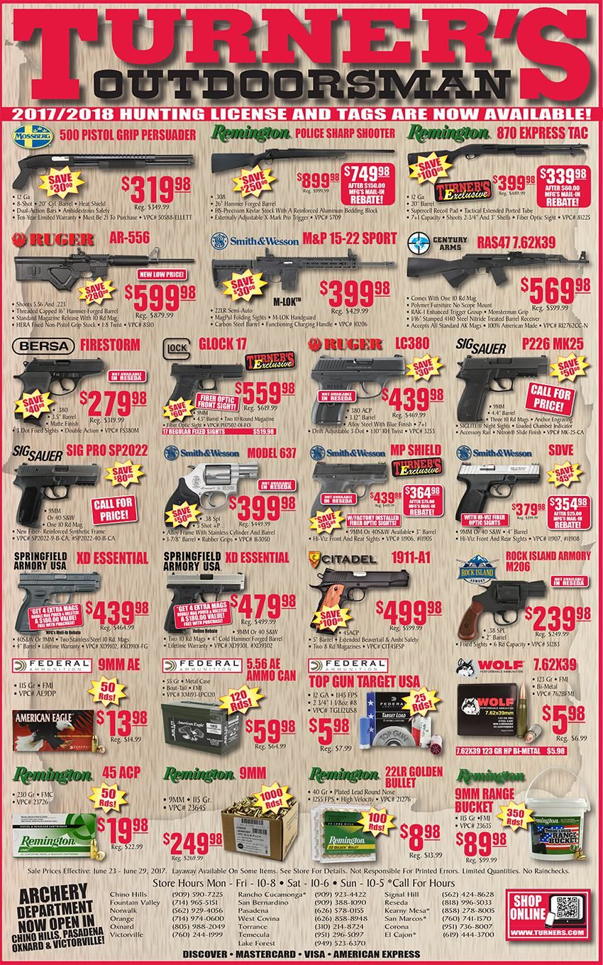 Turner's Outdoorsman Weekly Ad June 23 - 29, 2017 - http://www.olcatalog.com/turners/turners-weekly-ad.html