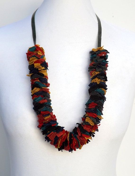 Multi color Fabric Necklace. Colorful by MissLaceAccessories