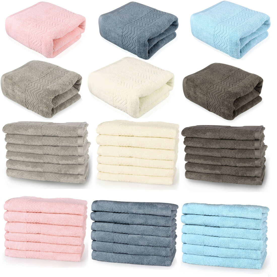Bath Towel Set Bathroom Towels Washcloths Hand Towel 100 Cotton 6