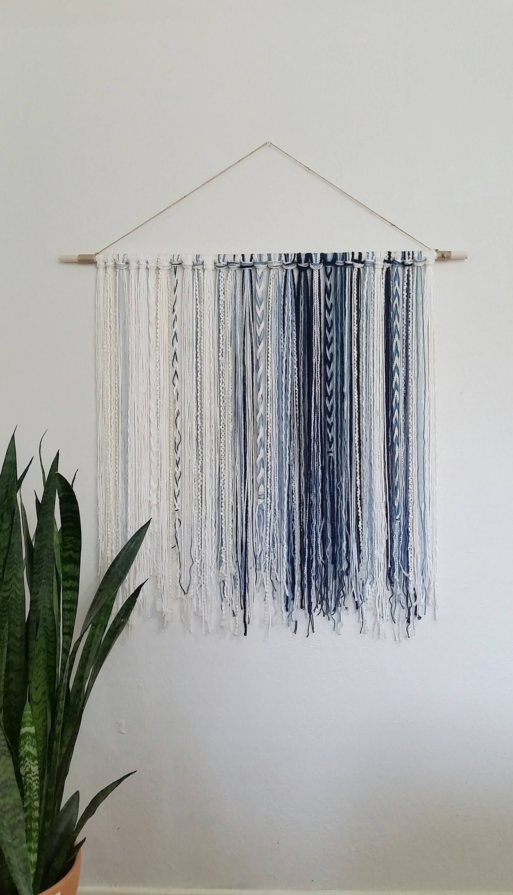 Tapestry Yarn Tapestry Yarn Wall Hanging Blue Ivory White