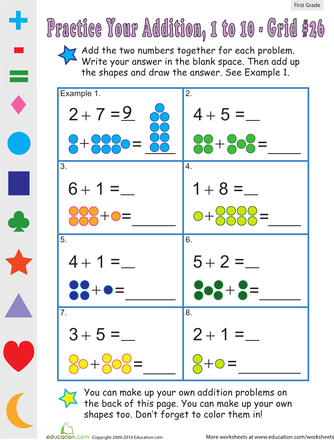 Single Digit Addition: Worksheets for 1st Grade | Education.com ...