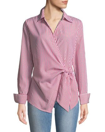 Neiman Marcus Faux-Wrap Long-Sleeve Striped Blouse