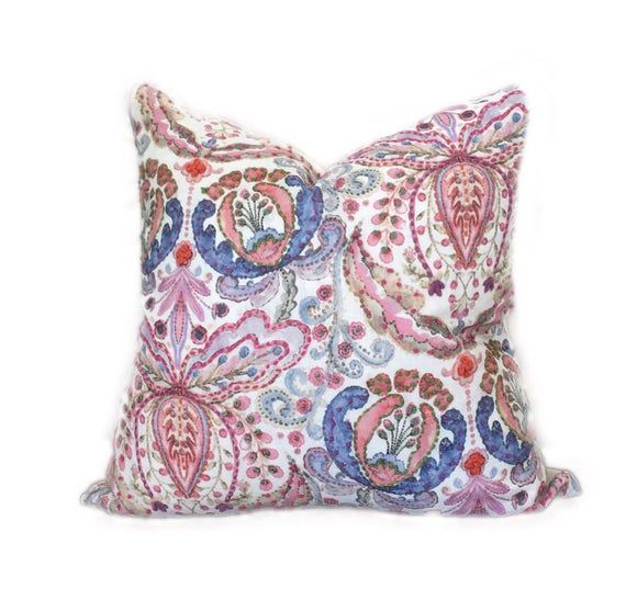 "Multi-Colored  Embroidered Pillow, 25"" floral pillow, whimsical pillow cover, hand embroidered pillo"
