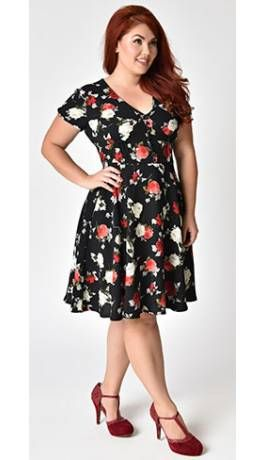 8a8776f843 Jd. Hell Bunny Plus Size 1940s Style Black Floral Crepe Valentina Swing  Dress