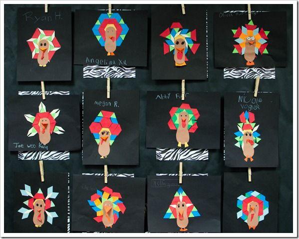 Symmetrical pattern block turkeys use as a pattern for Turkey crafts for first grade