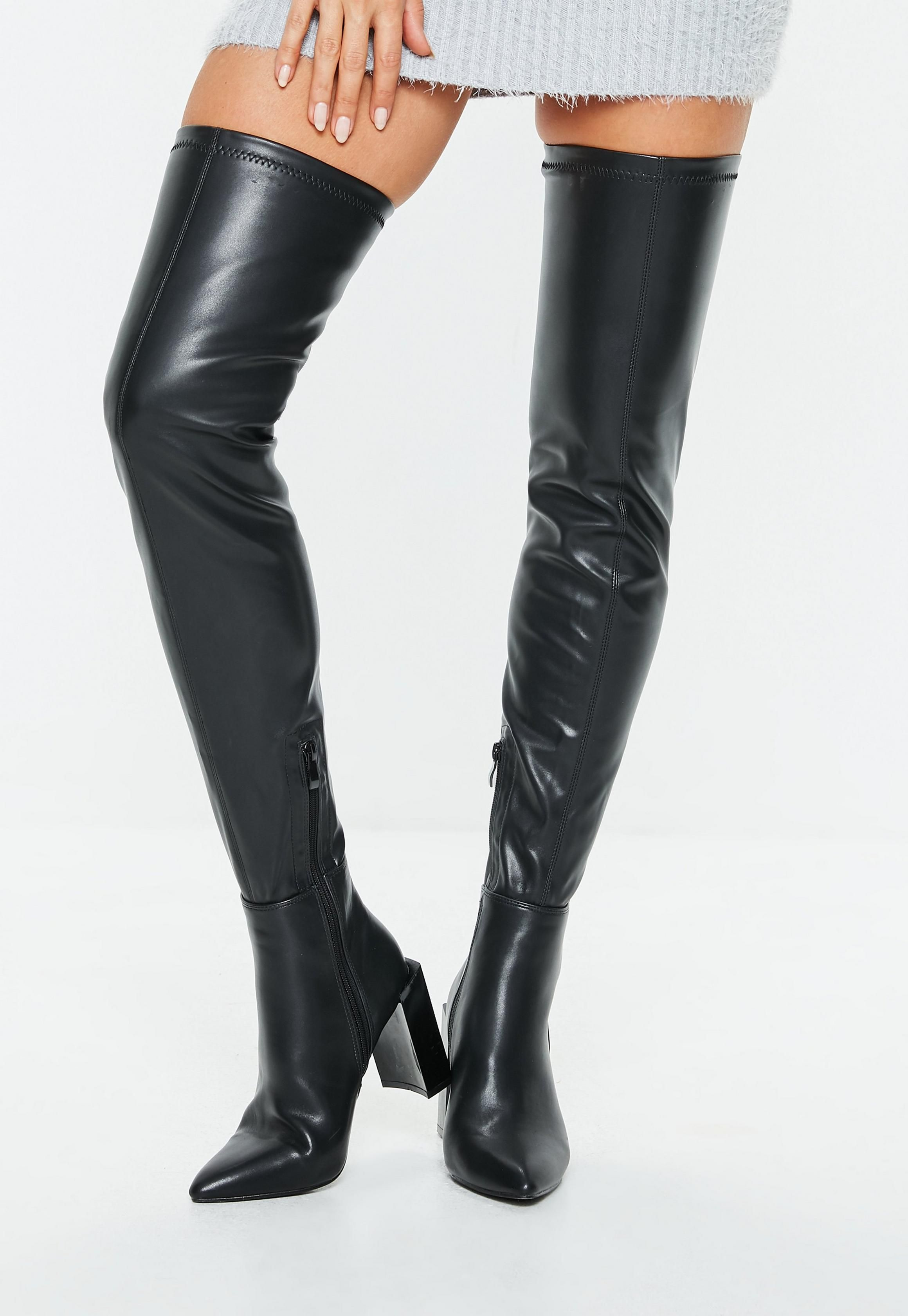 Missguided Black Faux Leather Knee High Heeled Boots